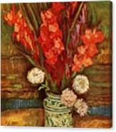 Vase With Red Gladioli  Canvas Print