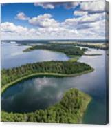 View Of Small Islands On The Lake In Masuria And Podlasie  Canvas Print
