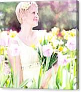 Vintage Val Spring Tulips Canvas Print