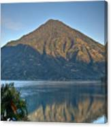 Volcano And Reflection Lake Atitlan Guatemala Canvas Print