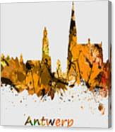 Watercolor Art Print Of The Skyline Of Antwerp In Belgium Canvas Print