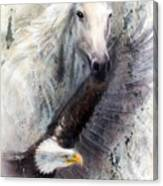 White Horse With A Flying Eagle Beautiful Painting Illustration Canvas Print