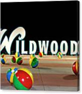 Wildwood's Sign At Night On The Boardwalk  Canvas Print
