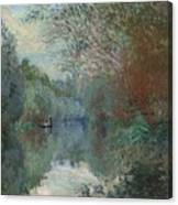 Willows At The Edge Of The Yerres Canvas Print