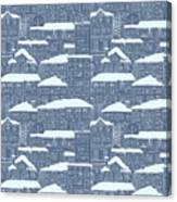 Winter Town Pattern  Canvas Print