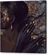 Woman In Splattered Golden Facial Paint Canvas Print