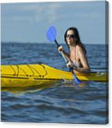 Woman Kayaking Canvas Print