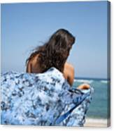Woman On Beach Canvas Print