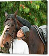 Woman Rider And Horse Canvas Print