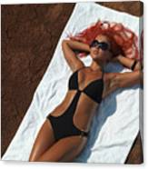 Woman Sunbathing Canvas Print