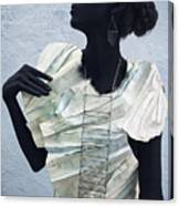 Woman With Black Boby Paint In Paper Dress Canvas Print
