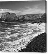 Yaquina Lighthouse On Top Of Rocky Beach Canvas Print