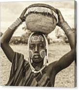 Young Boy From The African Tribe Mursi, Ethiopia Canvas Print