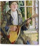 Young Boy With A Balalaika Nikolai Petrovich Bogdanov-belsky Canvas Print