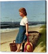 Young Girl At The Seashore Canvas Print