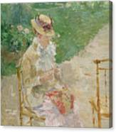 Young Woman Knitting Canvas Print