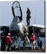 An F-14d Tomcat On The Flight Deck Canvas Print