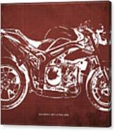 2011 Speed Triple Triumph Motorcycle Blueprint Red Background Artwork Christmas Gift For Men Canvas Print