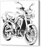 2011 Triumph Street Triple, Black And White Motorcycle Canvas Print