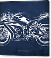 2015 Kawasaki Zx10r Blueprint, Motorcycle Art Print,gift For Men,man Cave Decoration Canvas Print