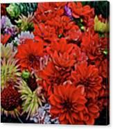 2017 Mid October Monona Farmers' Market Buckets Of Blossoms 1 Canvas Print