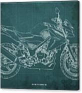 2018 Honda Cb300f Abs Blueprint Green Background Canvas Print