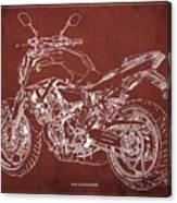 2018 Yamaha Mt-07 Blueprint - Red Background Canvas Print
