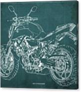 2018 Yamaha Mt07 Blueprint Green Background Fathers Day Gift Canvas Print