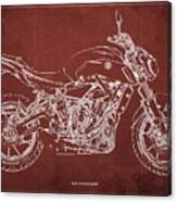 2018 Yamaha Mt07 Blueprint  Red Background Fathers Day Gift Canvas Print