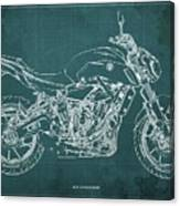 2018 Yamaha Mt07,blueprint,green Background,fathers Day Gift,2018 Canvas Print