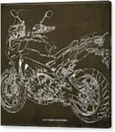 2018 Yamaha Tracer 900gt Blueprint Brown Background Two Wheels Move The Soul Canvas Print