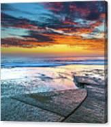 Sunrise Seascape And Rock Platform Canvas Print