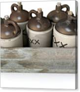Moonshine In Wooden Crate Canvas Print