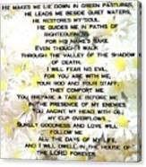 23 Rd Psalm Canvas Print