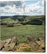 Beautiful Vibrant Landscape Image Of Burbage Edge And Rocks In S Canvas Print
