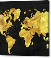 24 Karat World In Black Gold Metal World Map Wood Print By Tina Lavoie