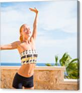 Beautiful Woman Practicing Yoga Canvas Print