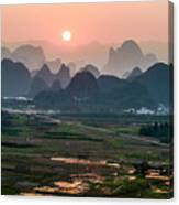 Karst Mountains Scenery In Sunset Canvas Print