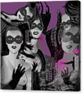 2616 Ladies Masks Man Weapons 2018 Canvas Print