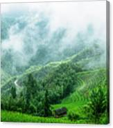 Mountain Scenery In The Mist Canvas Print