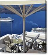 28 September 2016 Restaurant By The Aegean Sea  In Santorini, Greece  Canvas Print