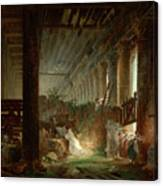 A Hermit Praying In The Ruins Of A Roman Temple Canvas Print