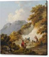 A Mother And Child Watching Workman In A Quarry Canvas Print