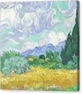 A Wheatfield With Cypresses Canvas Print
