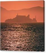 Alcatraz Island Prison San Francisco Bay At Sunset Canvas Print