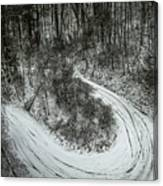 Bad Road Conditions While Driving In Winter Canvas Print