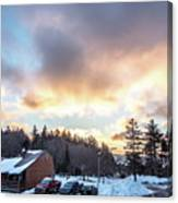 Beautiful Sunrise Over Horizon On Snowshoe Mountain West Virgini Canvas Print