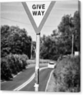 Bilingual English And Welsh Give Way Sign Anglesey Wales Uk Canvas Print