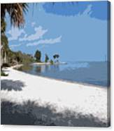 Castaway Point On The Indian River Lagoon With Coquina Rock Canvas Print