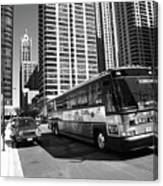 Chicago Bus And Buildings Canvas Print